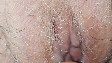 Playing with very old granny's  pussy  full od semen
