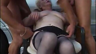 Grannny threesome outdoor