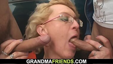 Hot grandma picked up and fucked outside