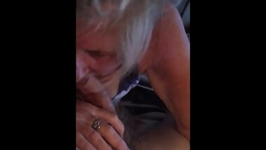 Granny sucks cock mouth cum