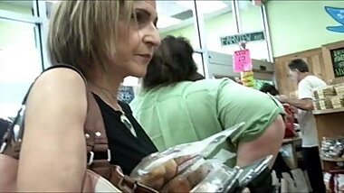 Upskirt Granny In A Grocery Store (NICE ASS)