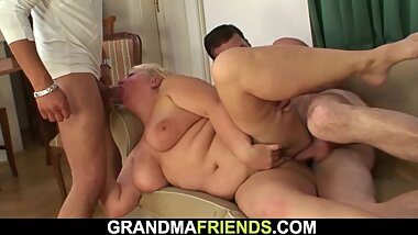 Two horny dudes pick up busty d granma
