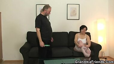 Young man joins old couple