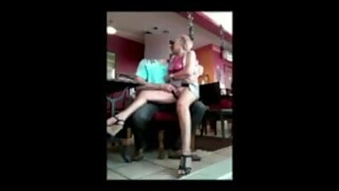 Granny Mary fingering at restaurant