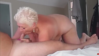 Short Haired Granny Sucking Cock
