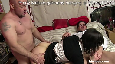 Skinny German granny double penetrated hardcore