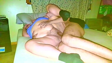 Groping grannys belly makes boy creampie her