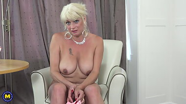 Busty mature with soaking wet vagina