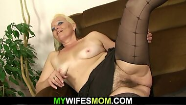 Hairy pussy mother-in-law gets naked and rides cock